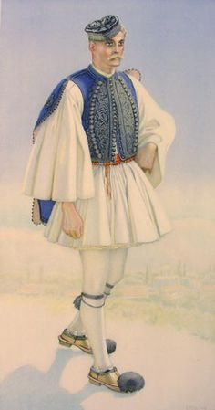 TRAVEL'IN GREECE I Man's Costume (Navpatkos) Greek Traditional Dress, Traditional Fashion, Ancient Greek Costumes, Authentic Costumes, Greek Warrior, Greek Culture, Costume Collection, Greek Clothing, Folk Costume
