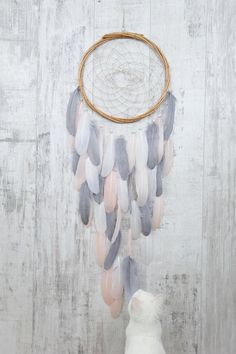 Blush+Pink+and+Gray+Feather+Dream+Catcher+-+Color+Choice+-+Boho+Girls+Boys+DreamCatcher+Wall+Hanging+Baby+Tribal+Crib+Baby+Feathers+New+Baby