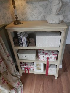 Book shelf, I bought this from charity shop for £12.  Painted in Anne Sloan and added some detail.....I love it!