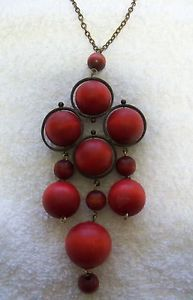 vintage Kaija AARIKKA Finland Large red pendant necklace mid-century modernist