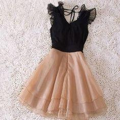 Image of HOT CUTE CHIFFON BLACK BROWN V DRESS
