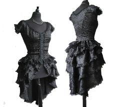 black bustled over dress