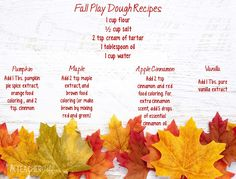 Fall Playdough Recipes - KTeacherTiff