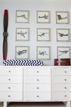 Vintage Airplane Gallery Wall - this is such a clean look for the nursery or kids room!