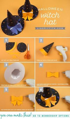 Printable Halloween Party Hats - Lia Griffith Hats off to Halloween! Get your spook on with our printable Halloween party hats, printed on our favorite Canon PIXMA printer. Dulceros Halloween, Moldes Halloween, Halloween Paper Crafts, Adornos Halloween, Manualidades Halloween, Halloween Activities For Kids, Halloween Porch Decorations, Halloween Disfraces, Halloween Birthday