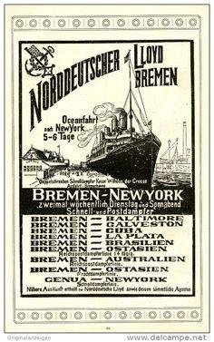 Original-Werbung/Inserat/ Anzeige 1904 - NORDDEUTSCHER LLOYD BREMEN ca. 130 x 210 mm