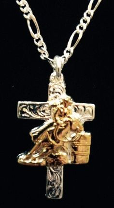 18-Inch Rhodium Plated Necklace with 4mm Emerald Birthstone Beads and Sterling Silver Saint William of Rochester Charm.