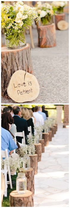 rustic tree stump wedding aisle decor ideas / http://www.deerpearlflowers.com/rustic-woodsy-wedding-trend-tree-stump/ #rustic #rusticwedding #countrywedding #weddingideas