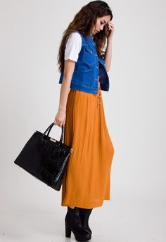 Zippers Pleated Skirt in Orange - Bottoms - Retro, Indie and Unique Fashion