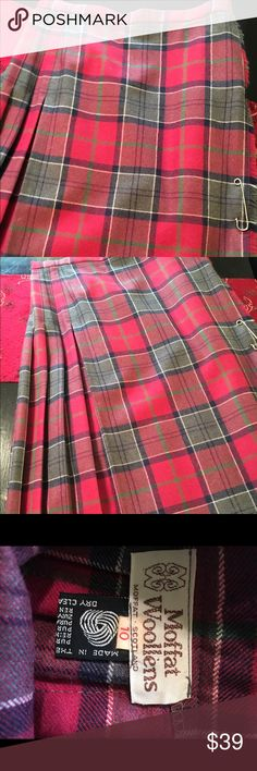 Vintage moffat woollens plaid pleated skirt Vintage moffat woollens pleated skirt. Made in Scotland label reads size 10 fits more like 4 Vintage Skirts Midi