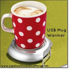 """USB Mug Warmer! Powered from your PC or laptop to keep beverages warm. 3 1/2"""" W x 4"""" L; 56"""" L cord. Plastic, metal. Imported. Item#: 134059 Price: $12.99"""