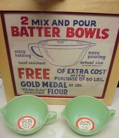 "Vintage Fire King Jade-ite Batter Bowls (3/4"" Band) and Original Store Display"