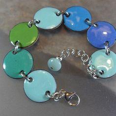Blue Enamel Bracelet, Enamel Jewelry, Blue Bracelet, Handmade Jewelry