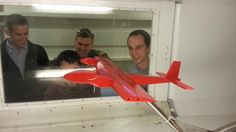 Aircraft Senior Design Team 2 performing wind tunnel testing on our aircraft.