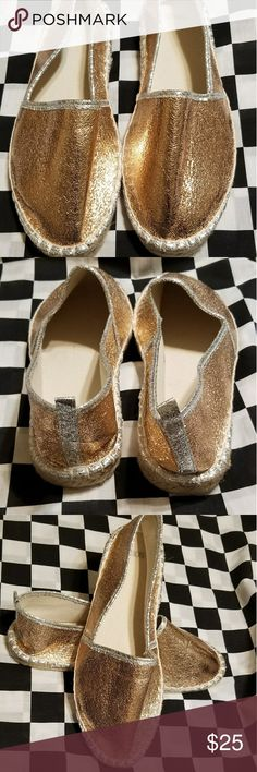 Shiny * Metallic Espadrilles Gold/penny color shoes! Never been worn- cute😚😙😘😍 ASOS Shoes Espadrilles