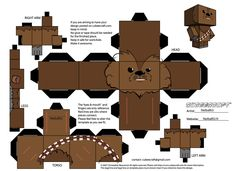 My own Chewbacca template for Cubeecraft paper character. Chewbacca Template C - Printable Star Wars - Ideas of Printable Star Wars - My own Chewbacca template for Cubeecraft paper character. Star Wars Origami, Origami Cube, Origami Stars, Chewbacca, Star Wars Birthday, Star Wars Party, Papercraft Star Wars, Anniversaire Star Wars, Star Wars Crafts