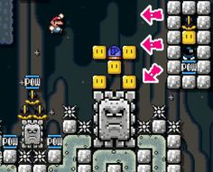 Super Mario Maker | Automatic POW Activator, Platform Collapse Trigger