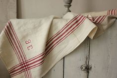 Lovely French country textile ~ red stripes homespun linen ~ Beautiful monogram ~ www.textiletrunk.com
