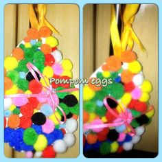 Kids easter crafts (easy pompom eggs)