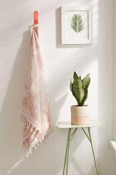 Lila Palm Print Tassel Trim Towel