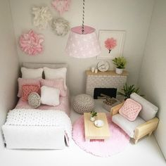 "82 Likes, 15 Comments - @a.dollhouse.designs on Instagram: ""Another shot of my lovely tiny bedroom with some pink accents. Hope you'll love it as much as I do…"""