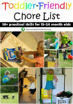 Chores for Young Toddlers Toddler friendly chore list for 15 to 24 month olds - How toddlers can help around the house and embrace independence Toddler Chores, Chores For Kids, Toddler Play, Toddler Crafts, Toddler Activities, Learning Activities, 15 Month Old Activities, Children Chores, Montessori Activities