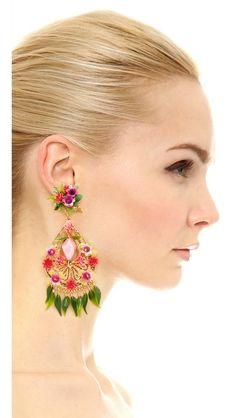 Mercedes Salazar Artes Fiesta Flor Rosa Clip On Earrings