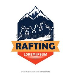 Rafting Logo Text Space Your Slogan Stock Vector (Royalty Free) 1141227638 Canoe Club, Tapestries, Rafting, Lorem Ipsum, Slogan, Texts, Royalty Free Stock Photos, Space, Hanging Tapestry
