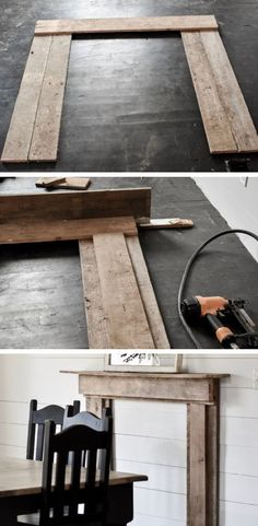 DIY Rustic Farmhouse Faux Fireplace and Mantel - Rocky Hedge Farm : Learn how to make this antique barnwood rustic faux fireplace mantle in just a few easy quick steps. A simple farmhouse decorating style. Faux Fireplace Mantels, Fireplace Mantel Surrounds, Farmhouse Fireplace, Rustic Farmhouse, Rustic Mantel, Pallet Fireplace, Fireplace Ideas, Brick Fireplace Wall, Faux Mantle