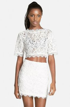#OOTD // Blush Blazer, White Lace Crop, & White Pencil Skirt | BondGirlGlam.com