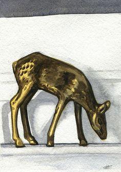 Brass Deer - Original Watercolor Painting by Cassie