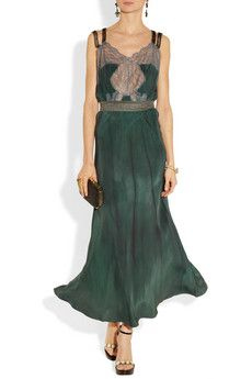 Bead-embellished silk and lace gown by Erickson Beamon