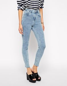ASOS Ridley High Waist Ultra Skinny Ankle Grazer Jeans in Retro Acid Wash with Raw Hem $60