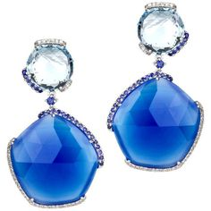 Preowned Blue Agate Topaz Sapphire Diamond Gold Drop Earrings (€2.560) ❤ liked on Polyvore featuring jewelry, earrings, blue, 14k yellow gold earrings, yellow gold diamond earrings, drop earrings, long gold earrings and sapphire drop earrings
