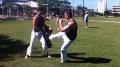 Kain Johnson #Sensei #kicking the bag in our #fitness circuit training. #Goju #GojuRyu #GojuKai #Karate Gedan Mawashi Geri