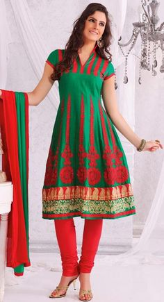 $59.71 Green Cotton Embroidered A Line Anarkali Salwar Suit 24197