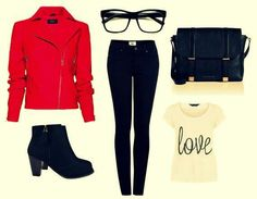 Perfect college outfit for the fall semester♥