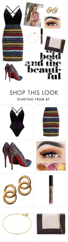 """Rainbow and Bold"" by sophie295 ❤ liked on Polyvore featuring Alice + Olivia, Christian Louboutin, Laura Lombardi, Charlotte Russe, Maya Magal and CÉLINE"