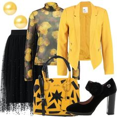 Festa in giallo e nero  outfit donna Trendy per serata fuori  d7f7e1fb011