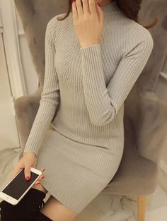 Drop Shoulder Ripped Tunic Sweater Dress