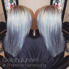 """Loved creating this colour! The @goldwellkmsacademy Elumen range allows me to create so many different shades and gives the hair so much shine with absolutely no damage to the hair! I loved making the unique pastel tones in this silver to ""many shades of blue"" ombré at @rhapsody_hairdressing  #hair #creativecolour #ombré #hairdressing #silverhair #bluehair #greyhair #pastelhair #pastelombré #hairdressinglife #salonlife #colourmelt #goldwell #elumen #behindthechair #hairbyelisha"