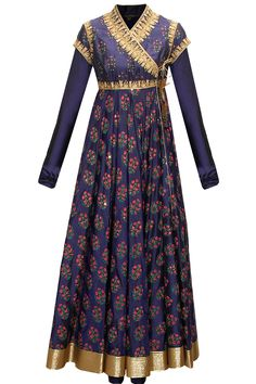 Indigo block printed angrakha style anarkali set available only at Pernia's Pop-Up Shop.