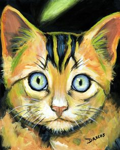 Bright Tabby Face Green Stripe Painting by Dottie Dracos
