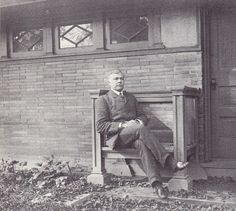 Frank Lloyd Wright's first official client after he started his independent architectural practice, William H. Winslow, sitting in a bench of Wright's design in the 1890s. The Winslow Brothers Iron Works in Chicago was responsible for executing many iron and bronze ornaments, including Louis Sullivan's Carson Pirie Scott and Company Store. Winslow House, The Winslow, Frank Lloyd Wright, New Architecture, Architecture Details, Louis Sullivan, Prairie School, Modern Architects, Arts And Crafts Movement