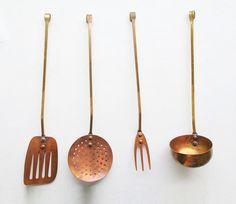 Antique Set of 4 Cooking Utensils,  Copper & Brass, 1940s