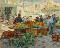 Helen McNicoll, Marketplace, 1910. Oil on canvas, 63.8 x 77.3 cm. The Robert McLaughlin Gallery, Oshawa, Ontario. #ArtCanInstitute #CanadianArt