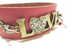 JEWELRY Pink LOVE Leather Bracelet Word Quote Love  Cuff
