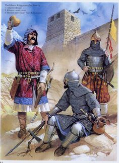 Angus McBride - warriors of Khazar khaganate - Alan, Khazar and muslim mercenary from Khwarazm.