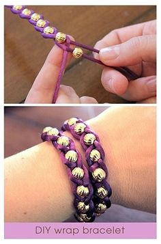 DIY bracelets you can make ! - Cool DIY bracelets you can make !] -Cool DIY bracelets you can make ! - Cool DIY bracelets you can make ! Diy Paso A Paso, Diy Beaded Bracelets, Wrap Bracelets, Gold Bracelets, Braided Bracelets, Diamond Earrings, Embroidery Bracelets, Bracelet Box, Bracelets Crafts
