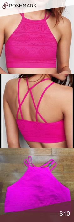 New Victoria's Secret High-Neck Seamless Bralette Brand new with tags!! Sexy high neck style that can also be worn as a crop top! Very sexy Strappy Back! Victoria's Secret Intimates & Sleepwear Bras